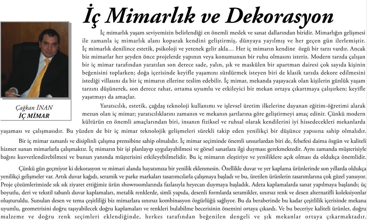 MİMAR YAZILARI (2014)